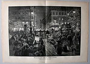 Berlin - Weihnachtsabend unter den Linden - Stich, Holzstich n. F.Stahl 1889