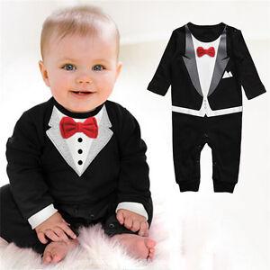 Newborn Baby Boys Gentleman Formal Suit Romper Photo Jumpsuit Wedding Outfits