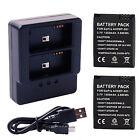 2pcs 1050mAh AHDBT-301 Batería Battery+Dual Cargador para GoPro HD HERO 3 3+