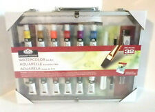 32 pc WATERCOLOR ART SET - Paint, Brushes, Case - NEW / Sealed