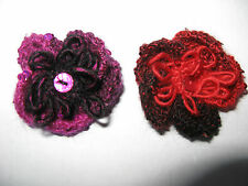 Two Hand Knitted Flower Brooches: Red/Black & Cerise/Black, with sequins