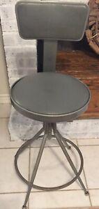 """Vintage Industrial Drafting Metal Stool Chair Adjusts 24"""" & Higher Sputnik MCM"""