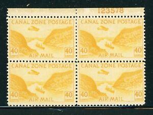 CANAL ZONE MLH Multiple Selections: Scott #C13 40c Yellow GAILLARD CUT CV$14+