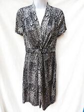 $158 BCBG MAXAZRIA Womens Black White Jersey Stretch Snake Skin Dress S 4 6