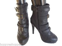 "Apple Bottoms Berry Short Black Boots 5"" Heels Womens 7.5 Buckles Straps"