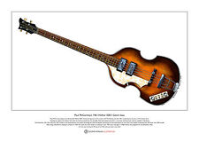 Paul mccartney 1961 hofner cavern bass limited edition fine art imprimé A3 taille