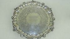 """Vintage Sterling Silver 10"""" Plate Circa 1850 From Ship Waterloo! To Capt. Harvey"""