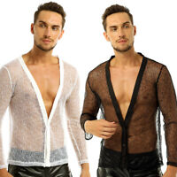 Mens Muscle Mesh Sheer Long Sleeve T-Shirt Tank Top Jacket Clubwear Mesh Blazer
