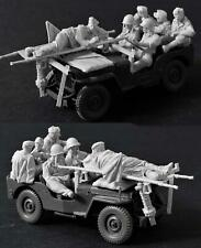 1:35 US Jeep Crew Resin Model Figures, 6 Soldiers WW2 Military Theme