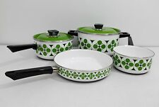 Mid Century Modern Funky Green Enamel Cookware Set RETRO Vintage Pots & Pans MCM