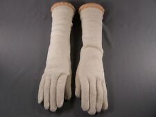 "Cream Off White 15"" long wool stretch gloves winter warm ladies elbow length"