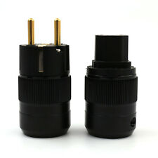 One Pair 24K Gold Plated Schuko Power Plug+IEC Female Audio Connector