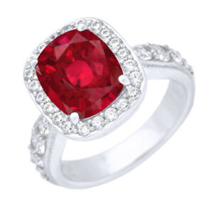 4.50 CT Emerald Cut Simulated Ruby & Round Bridal Ring in Platinum Plated