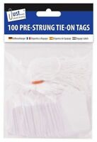 Pack of 100 Pre Strung White Tags 36 x 53mm Tie On String Jewellery Gift Labels