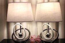 2 Lampen weiß silber Nachttischlampe Leuchte Keramik Tischlampe Tischleuchte 40