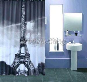 Include 12 hooks Paris Eiffel Tower Pattern Bathroom Fabric Shower Curtain Ps270