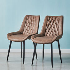 2pcs Diamond Dining Chairs Faux Leather Padded Seat Metal legs Restaurant Chair