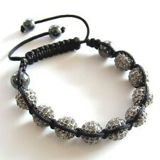 Shamballa Armband Power Beads BALLS Black Silver Unisex Valuable