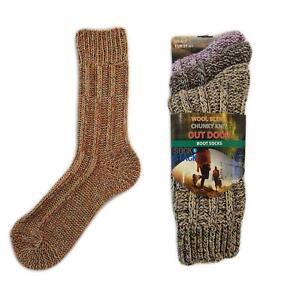 Wool Socks 6 Pairs Of Womens Multi Chunky Woolen Boot Sock UK 4-7
