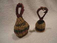 Authentic Ghana African Woven Basket Rattles - Set of 2 Small