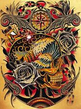 Course by Tyler Bredeweg Canvas Giclee Art Print Tattoo Nautical Skull and Roses