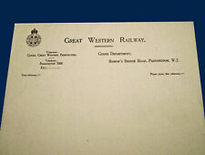 More details for gwr great western railway, original paddington goods dept headed paper, 1920's