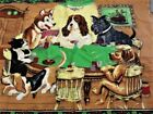 """Vintage Dogs Playing Poker Tapestry-Made In Turkey-100%Cotton-Sz. 54' x 34""""-Used"""