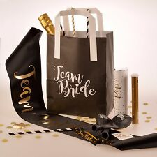 5 x TEAM BRIDE HEN PARTY BAGS - Black and White Hen Party Goody Bags Paper Bags