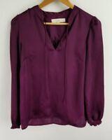 Ann Taylor Loft Womens Shirt Purple V-neck Long Sleeve Size Small