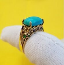 Striking 14K Yellow Gold Turquoise and Multi-stone Ring Sz 8