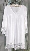NEW Plus Size 1X White Ivory Blouse Lace Crochet Tunic Top Shirt