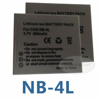 2pk  NB-4L Battery Pack for Canon Digital IXUS 55 65 i7 I Zoom PowerShot TX1