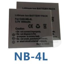 2 NB-4L BATTERY PACK PER CANON DIGITAL IXUS 55 65 i7 zoom mi PowerShot TX1