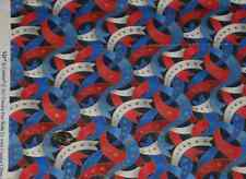 GORGEOUS! PATRIOTIC RIBBONS WITH GOLD METALLIC- ONE YARD