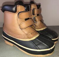 SKA-DOO sz 10 Children's Youth Unisex Brown/Black Duck Boots HOOK & LOOP