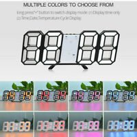 Modern Digital 3D LED Wall Clock Alarm Clock Snooze 12/24H Display Decor USB CHY