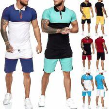 New Men's Summer Short Sleeve Tops Jogger Shorts Tracksuit Gym Sports 2Pcs Suits