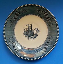 Currier & Ives SAUCER Blue and White Steamboat by Royal China