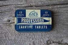 Vintage Professors Laxative Tin NOS with 15 Tablets & Paper Insert Aspirin Style