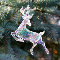"""4.5"""" Clear Iridescent Plastic Leaping Reindeer Christmas Holiday Animal Ornament"""