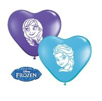 "8 x Disney FROZEN 6"" (Small) Heart Latex Balloons (Party/Birthday)(Qualatex)"