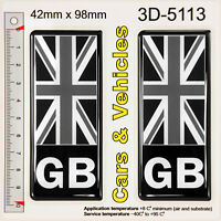 2x GB Black Union Jack Flag 3D Resin Number Plate Stickers Decals Badges Domed