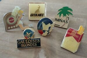 Lot de 6 Pin's marques cigarettes Marlboro Ninas Gauloises Lucky Strike Gitanes