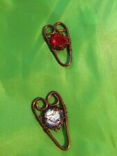 Gems In The Center Handmade Copper Hearts With Woven