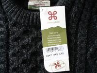 CarraigDonn Mens Traditional Aran Sweater Charcoal Real Irish Wool Ireland