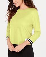 Authentic Calvin Klein Performance Varsity-Stripe Top - Lemon Chrome - Size XL