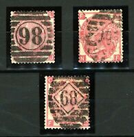 GB QV 1867/80 3d red plates 5, 6 and 9 sg103 cv£180 (4v) Used Stamps