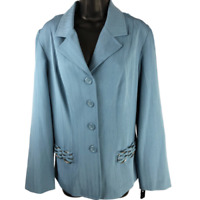 NWT COURTENAY Blue Stretchy Shoulder Padded Button Front Jacket Women's Size 10