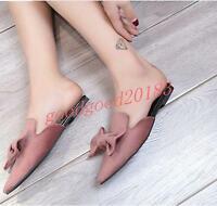 Hot Sale Womens Pointed Toe Sandals Mules Bowknot Shoes Summer Casual Slip On US