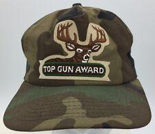Vtg Top Gun Award Deer Patch Front New Era Woodland Camouflage Snapback Hat USA